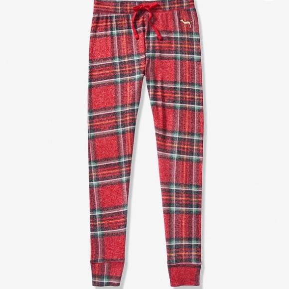 8afa985e7db24 VS Pink Victoria's Secret Sleep Leggings Pants Red NWT